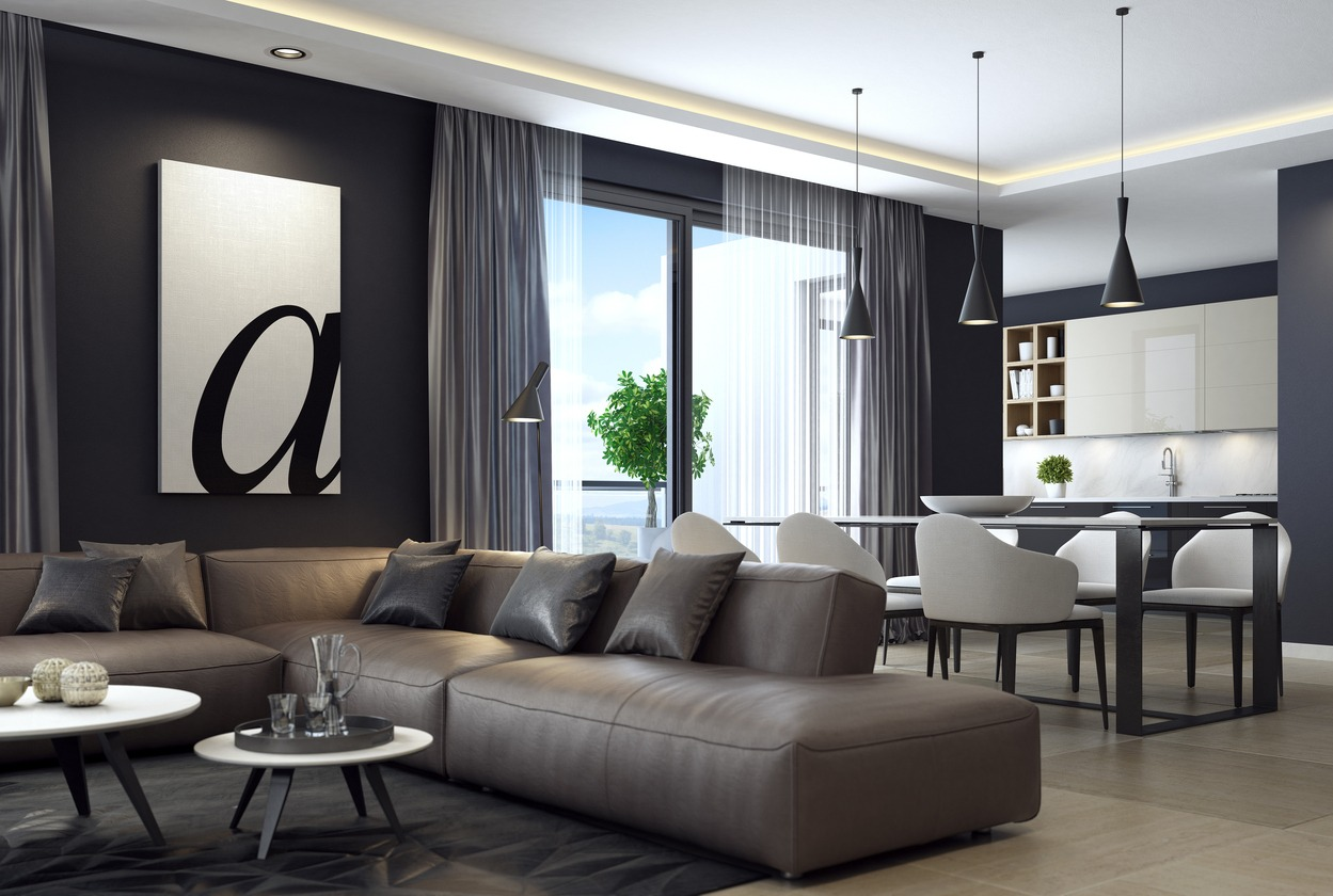 Modern luxury black style apartment with leather sofa ...